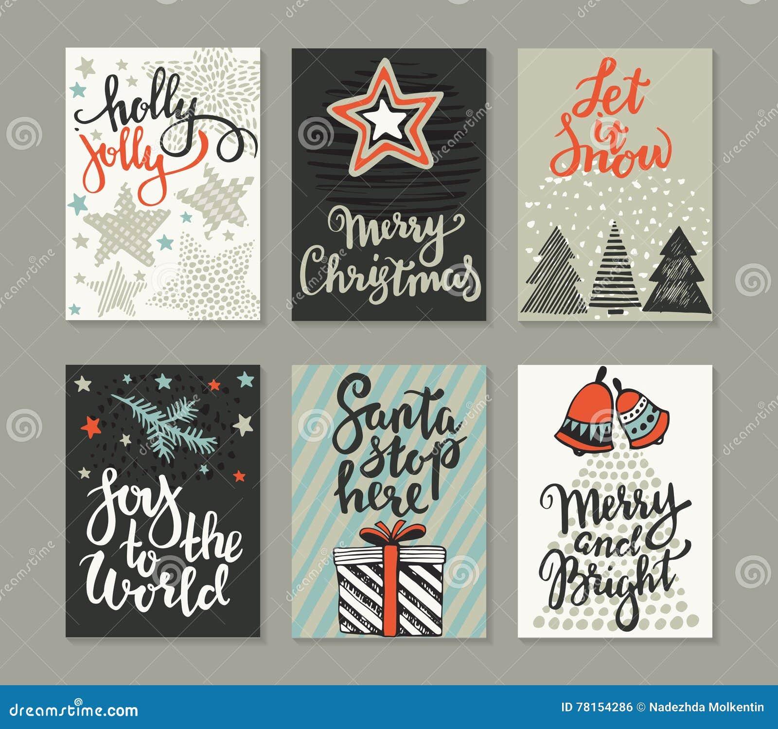 Samling av sex julhälsningkort
