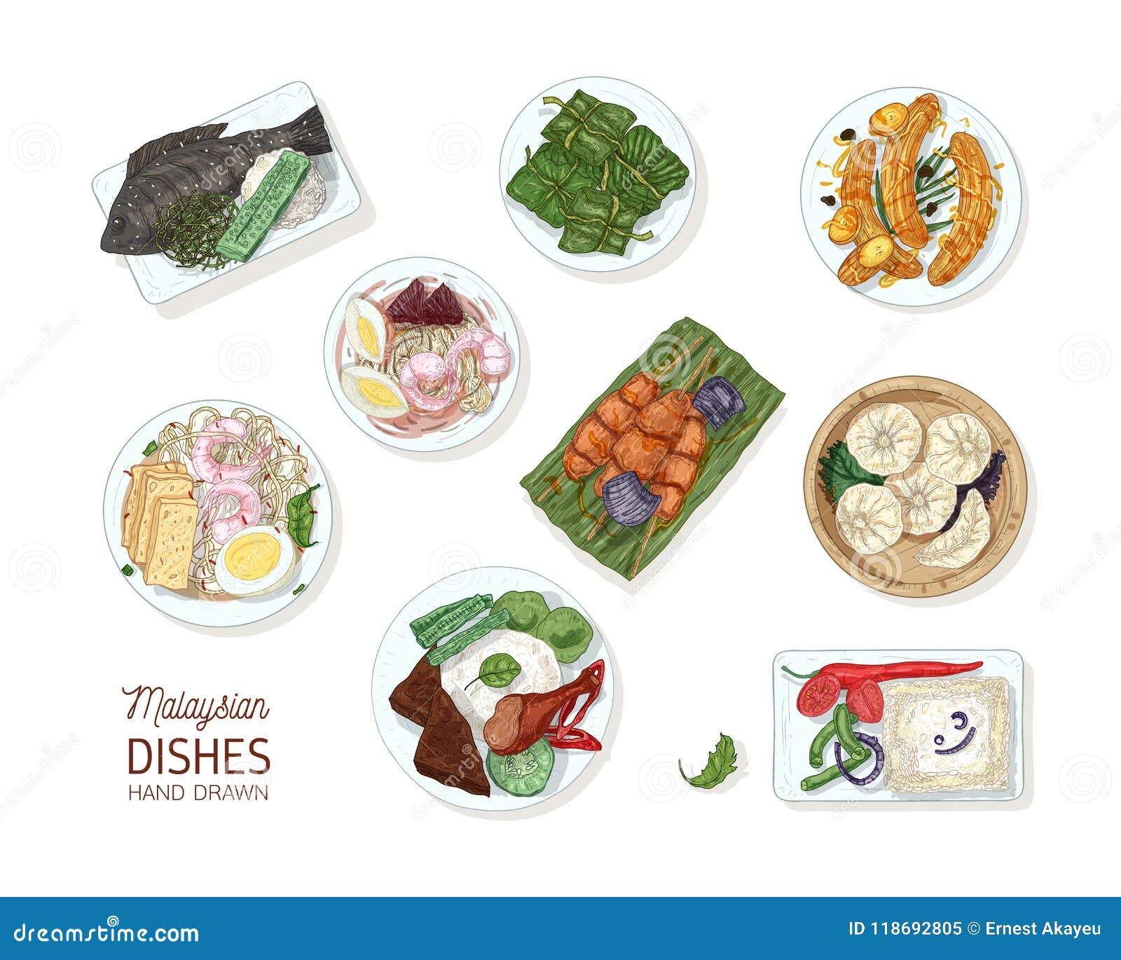 Samling av smakliga mål av malaysisk kokkonst Packen av den läckra kryddiga asiatiska restaurangen besegrar att ligga på plattor