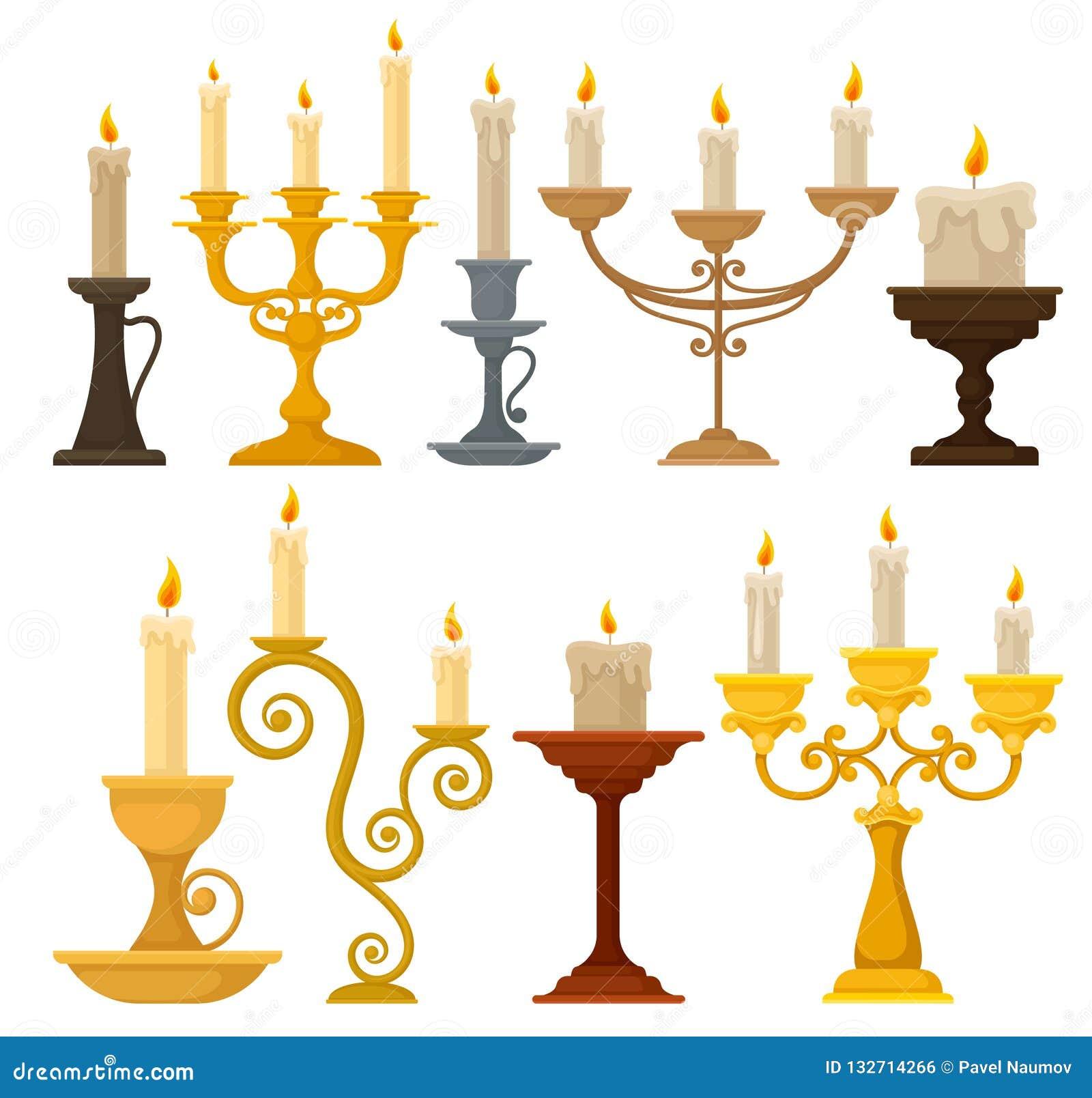 Samling av stearinljus i ljusstakar, tappningstearinljushållare och kandelabervektorillustration på en vit bakgrund