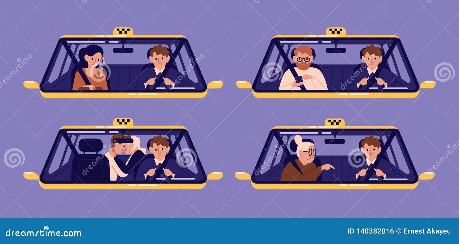 Samling av taxikunder eller klienter och chaufför i taxi sedd igenom vindruta Packe av folk som använder bilen