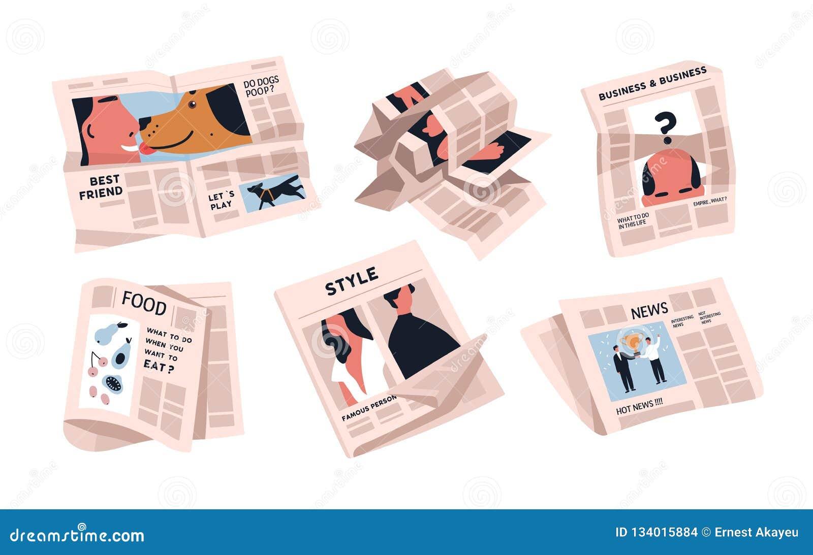 Samling av tidningar som isoleras på vit bakgrund Packe av periodiska publikationer av olika artiklar - nyheterna