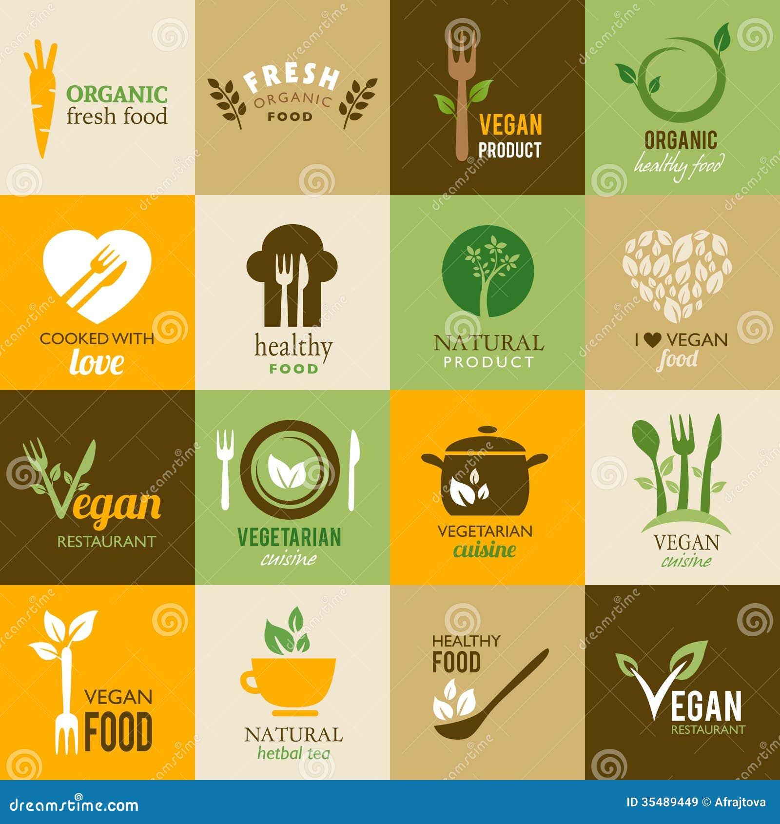 Samling av vegetariska och organiska symboler