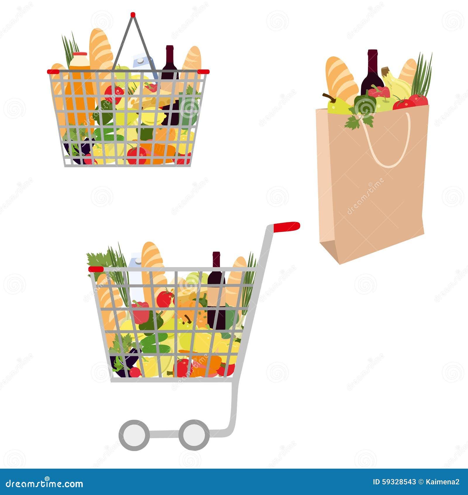 Samling av vektorshoppingpåsen shoppa för korgmatar Shoppingvagn mycket med livsmedel som isoleras på vit bakgrund
