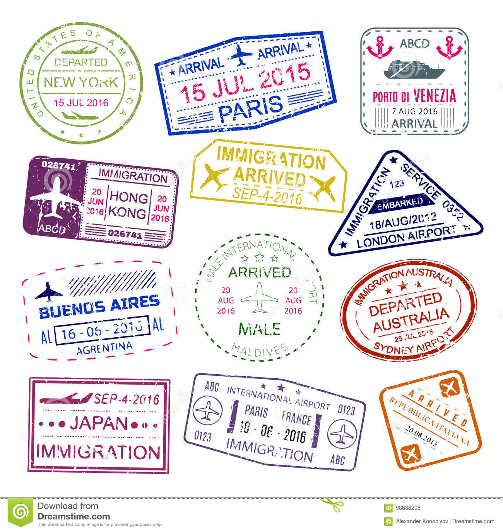 Samling för design för visumstämplar ljus