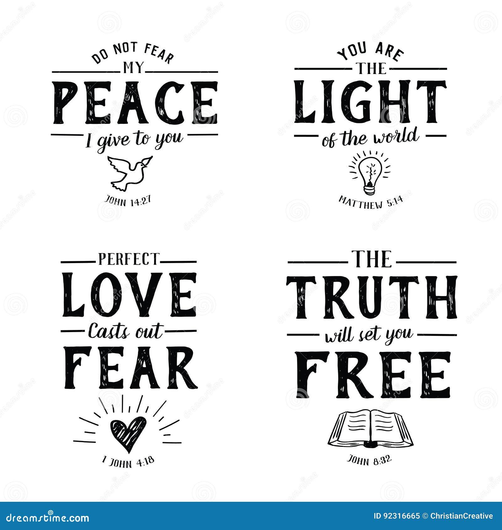 Samling för emblem för Christian Bible Verse Hand bokstäverSkriften