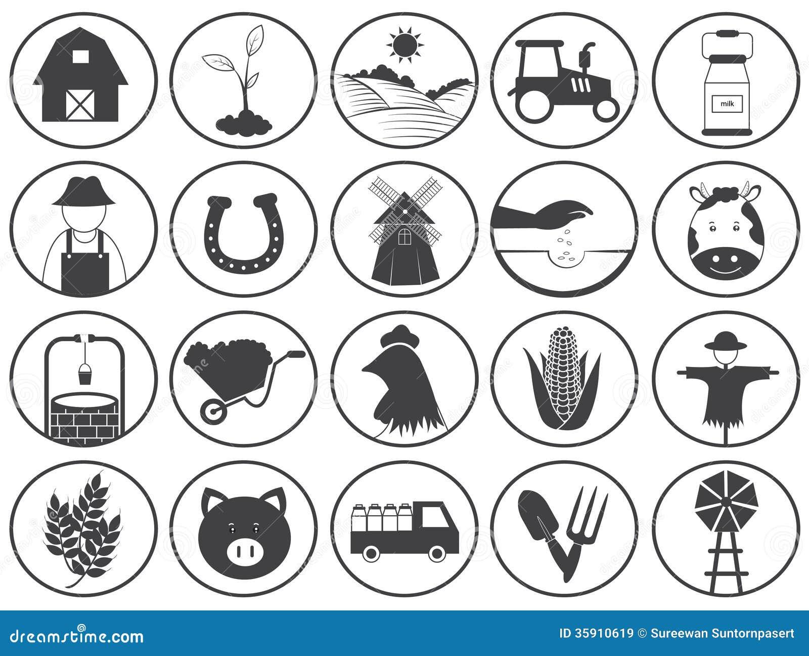Samling för lantbruksymbolsvektor