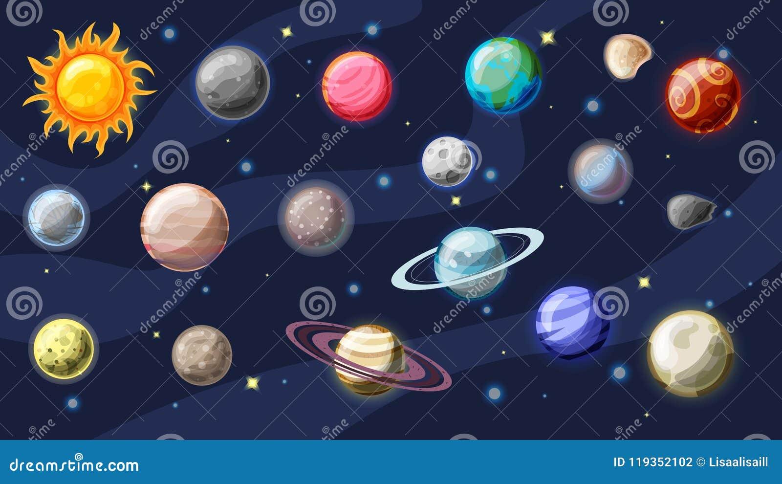 Samling för solsystemvektortecknad film Planeter, månar av jord, Jupiter och annan planet av solsystemet, med