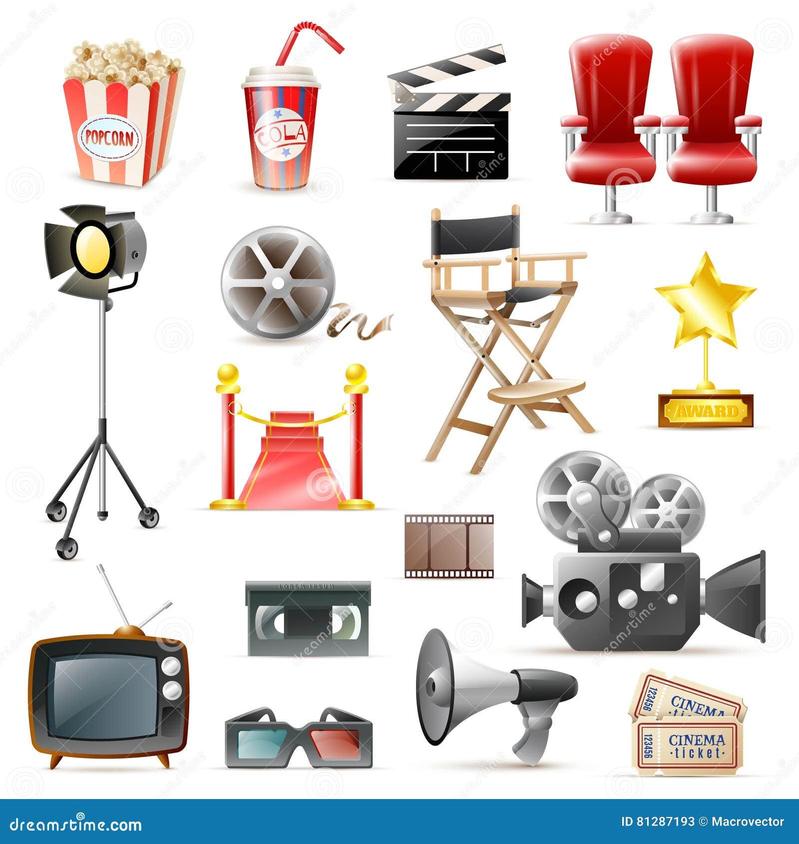 Samling för symboler för biofilm Retro