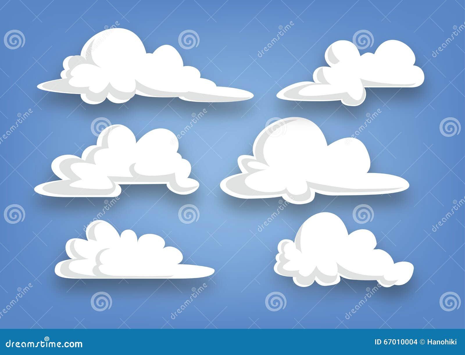 Samling för tecknad filmstilmoln, uppsättning av moln - illustration