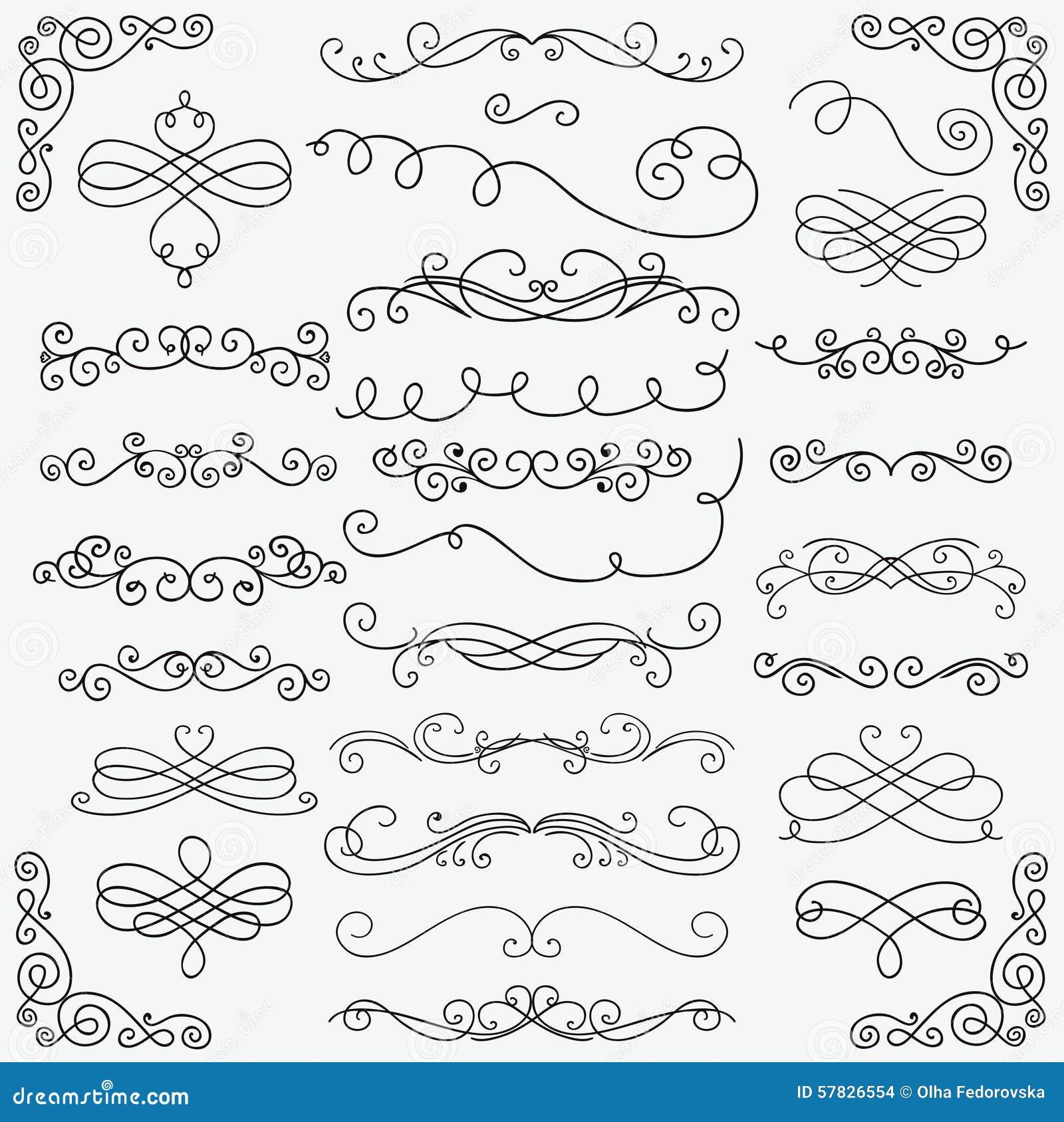 Samling för virvlar för vektorsvartklotter hand dragen