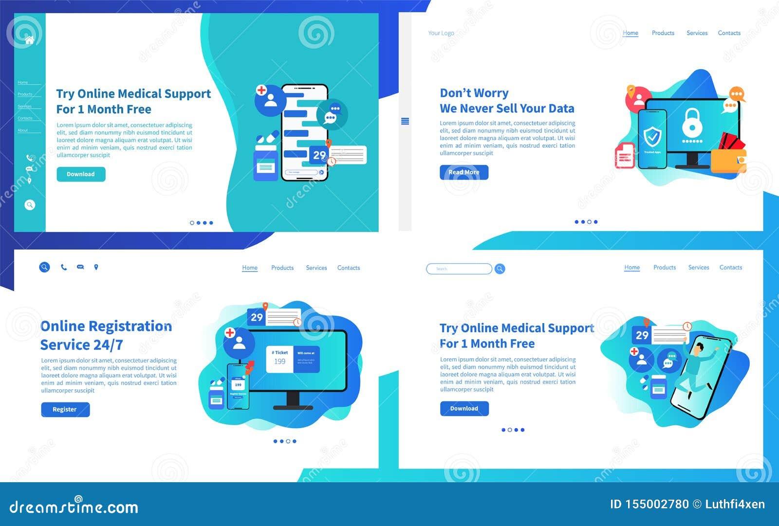 Samling för webbsidadesignmallar av online-särdrag för medicinsk service Moderna vektorillustrationbegrepp för website och mobil