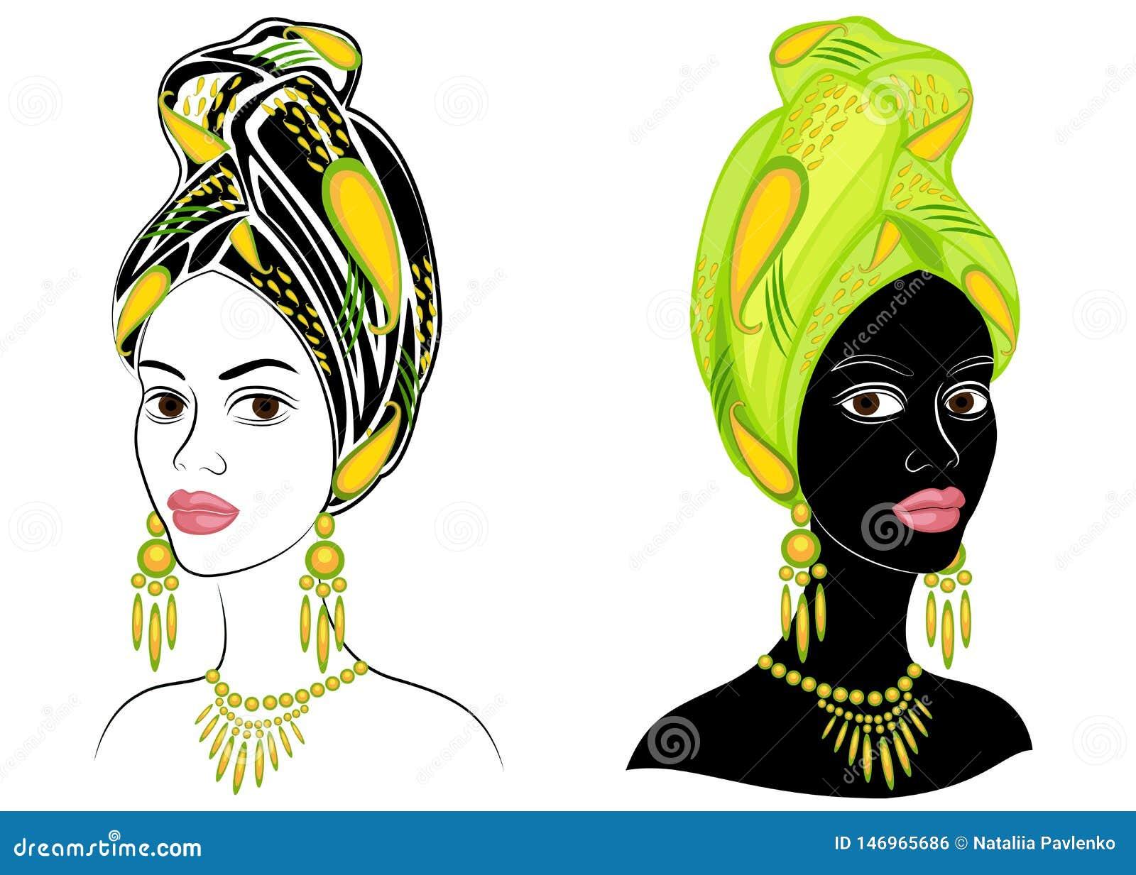 Samling Kontur av ett huvud av en s?t dam En ljus sjal, en turban binds p? huvudet av en afrikansk amerikanflicka _