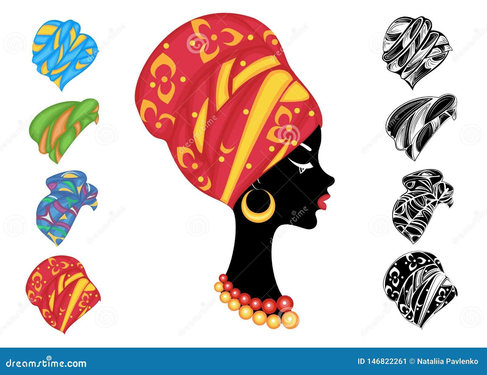 Samling Kontur av ett huvud av en s?t dam En ljus sjal, en turban som binds till huvudet av en afrikansk amerikanflicka _