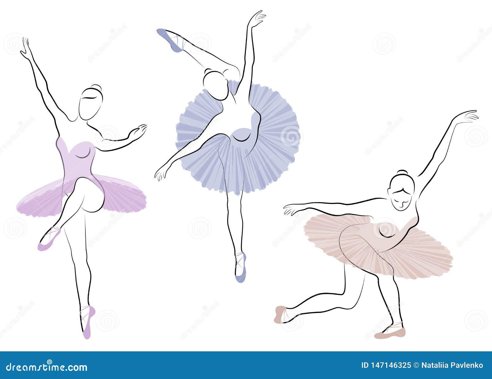 Samling Konturn av en gullig dam, dansar hon balett Flickan har ett h?rligt diagram Kvinnaballerina vektor
