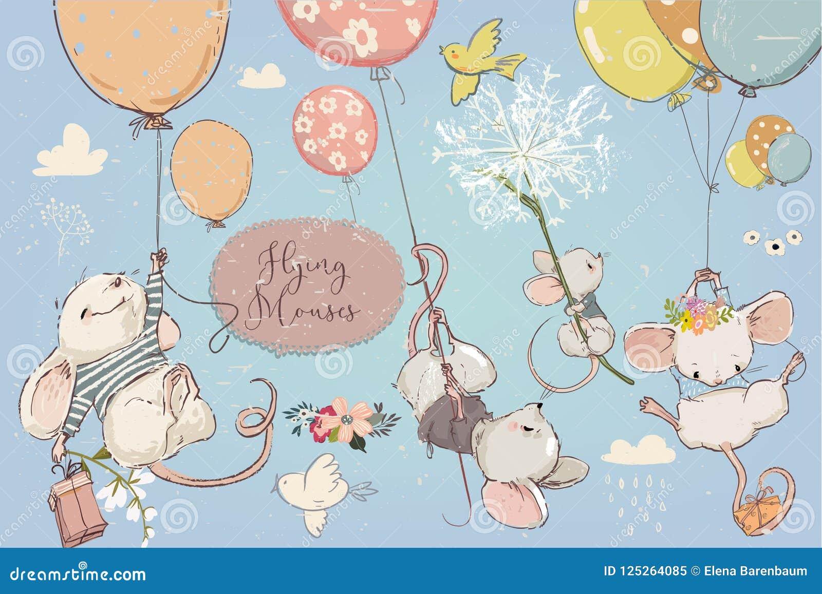 Samling med gulliga födelsedagmouses med ballonger