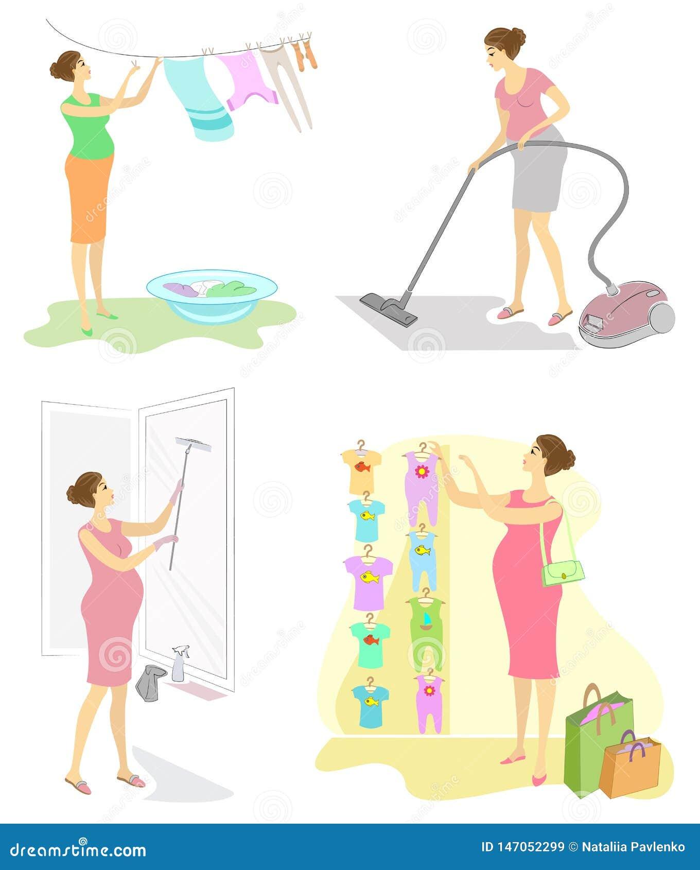 Samling Profil av en gullig gravid dam Gör ren rummet med en dammsugare, häng tvätterit, tvätta fönstren, köpkläder