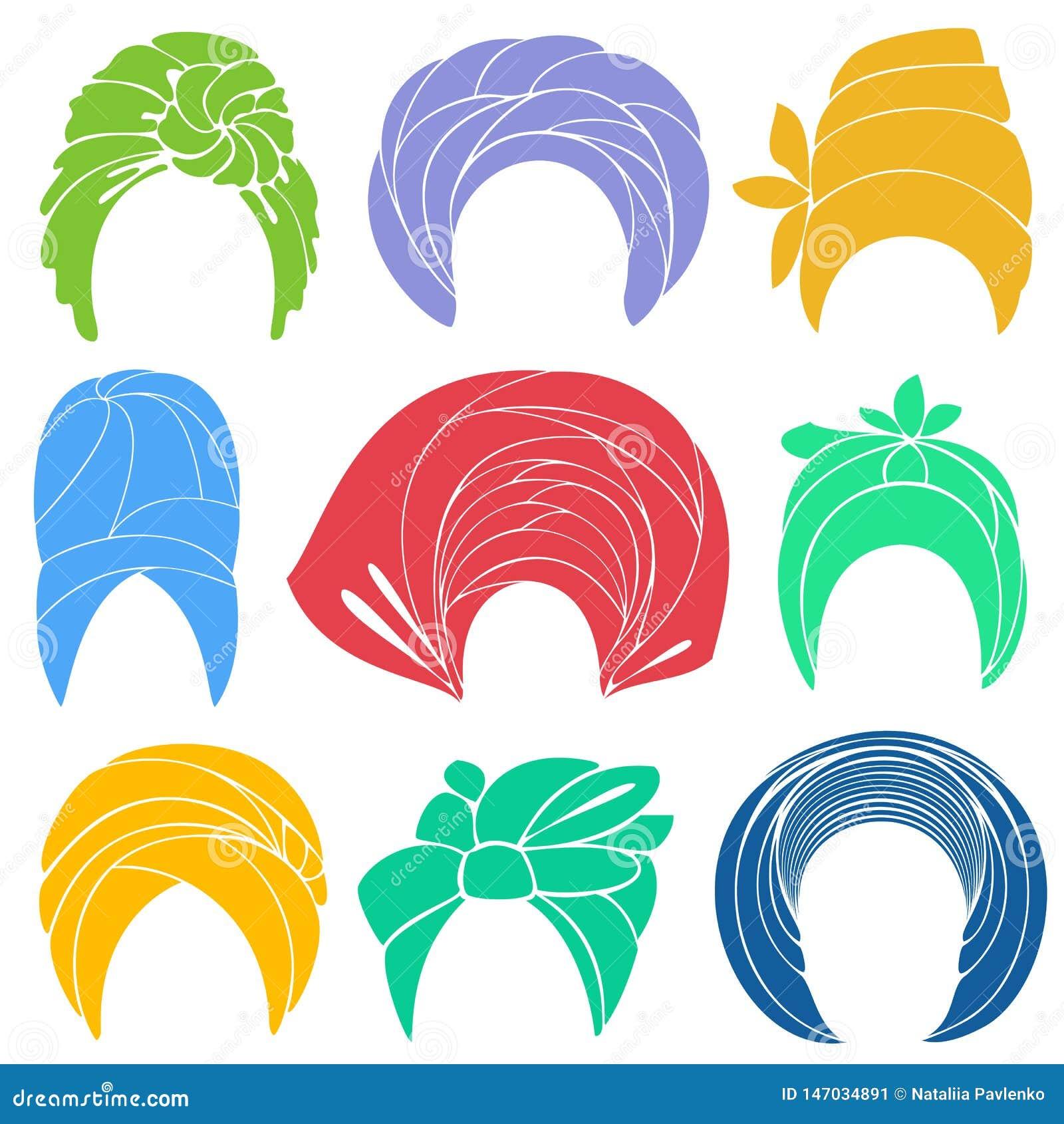 Samling Traditionell nationell huvudbonad, turban stucken scarf Logo symbol, intrig Grafisk bild st?ll in vektorn