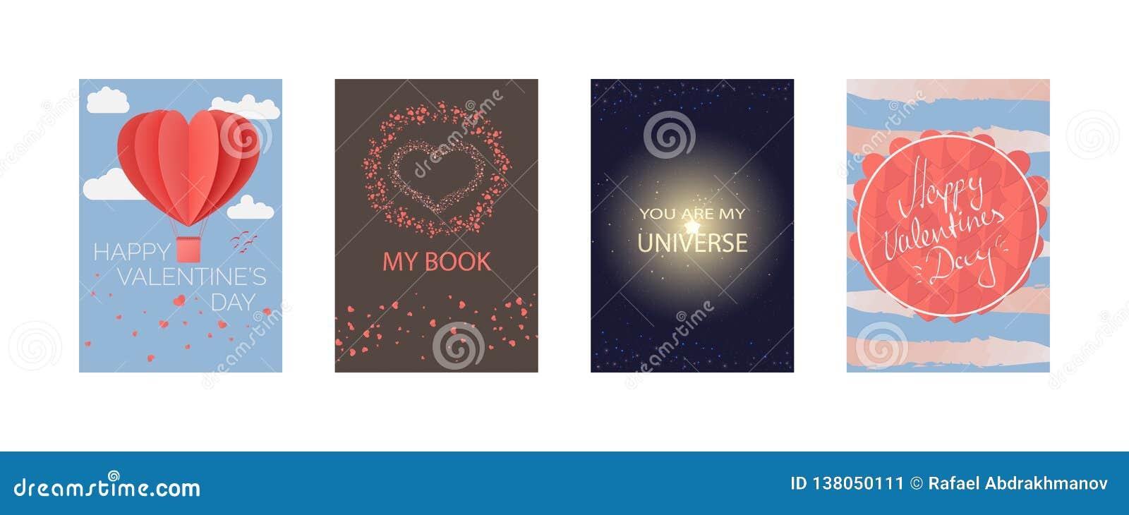 Samlingar av kort för lyckliga valentins dag, min bok, är du mitt universum Typografiaffisch, kort, etikett, banerdesignuppsättni