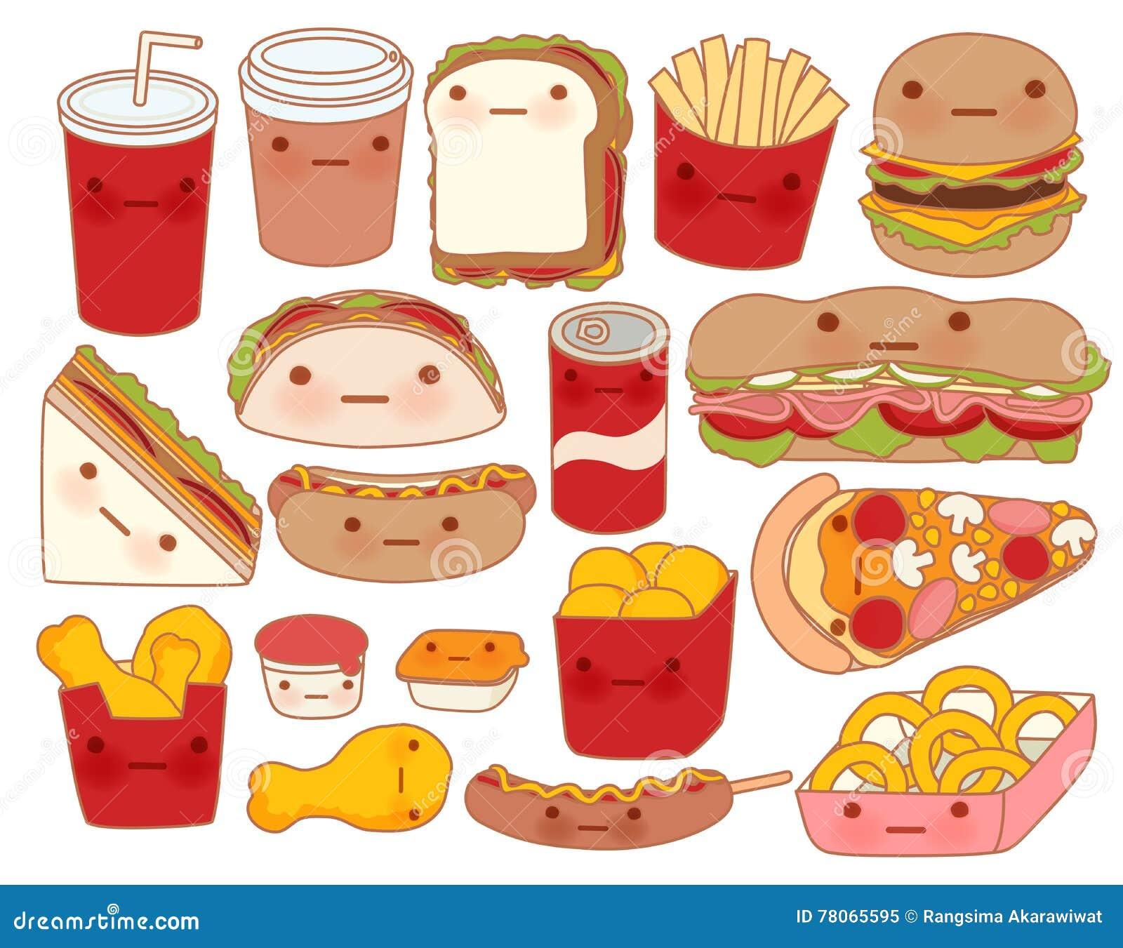 Samlingen av älskvärt behandla som ett barn matklottersymbolen, den gulliga hamburgaren, den förtjusande smörgåsen, söt pizza, ka
