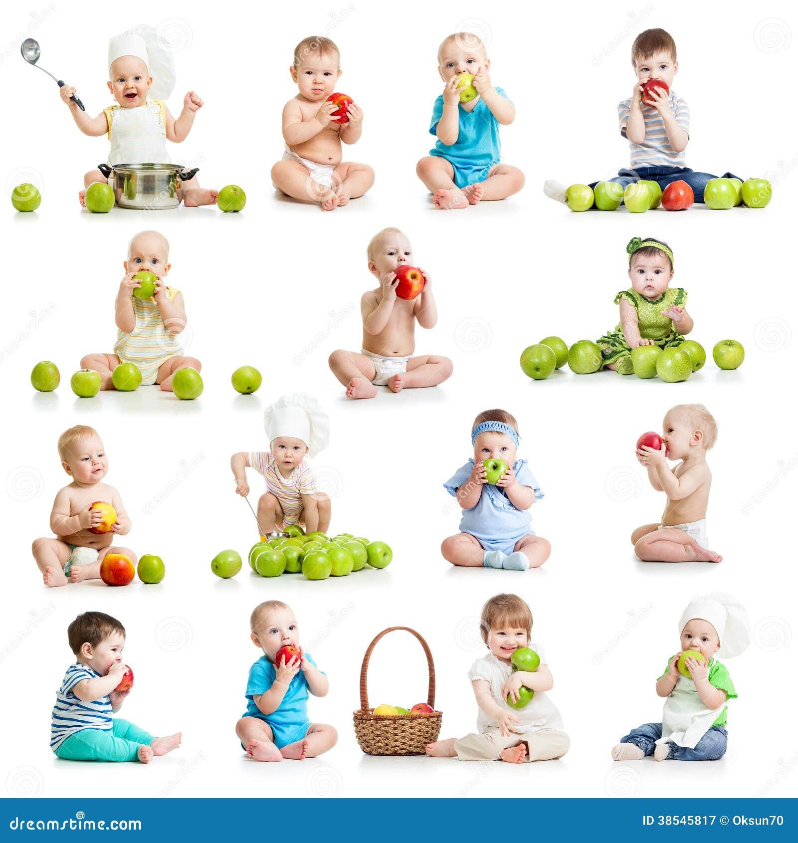 Samlingen av behandla som ett barn och lurar att äta äpplen