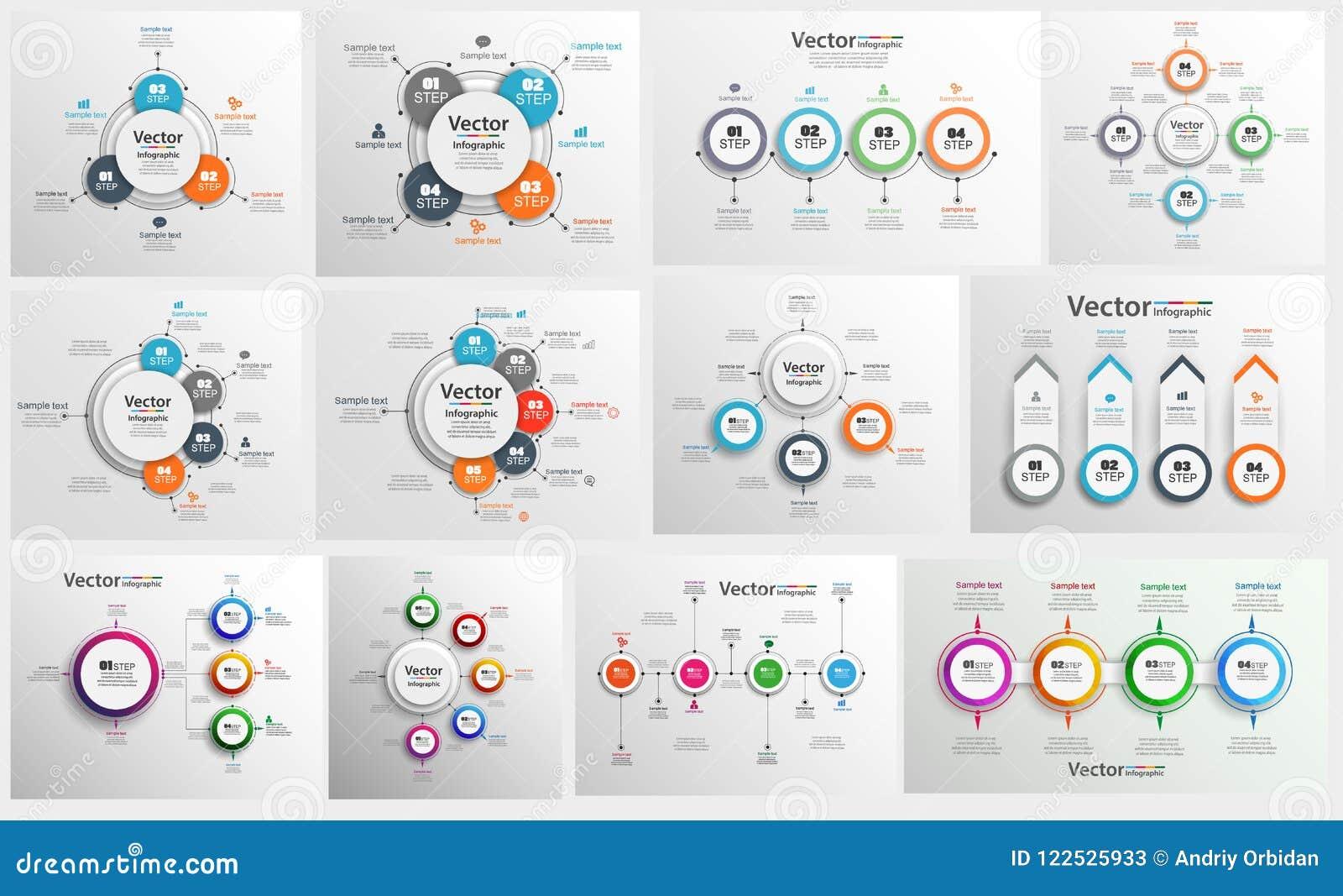 Samlingen av färgrikt infographic kan användas för workfloworientering, diagram, nummeralternativ, rengöringsdukdesign
