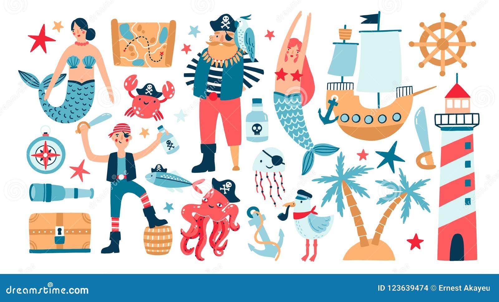 Samlingen av förtjusande piratkopierar, seglar skeppet, sjöjungfruar, havsfisken och undervattens- varelser, skattbröstkorgen, fy