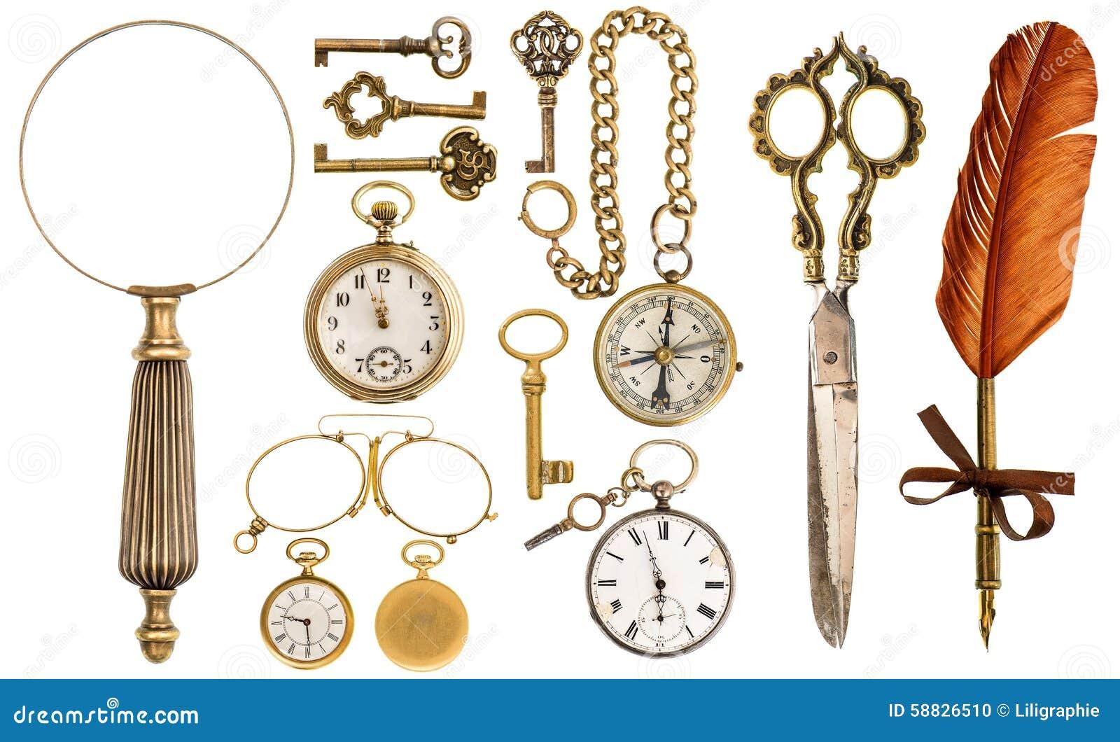 Samlingen av guld- den tappningtillbehör och antikviteten anmärker
