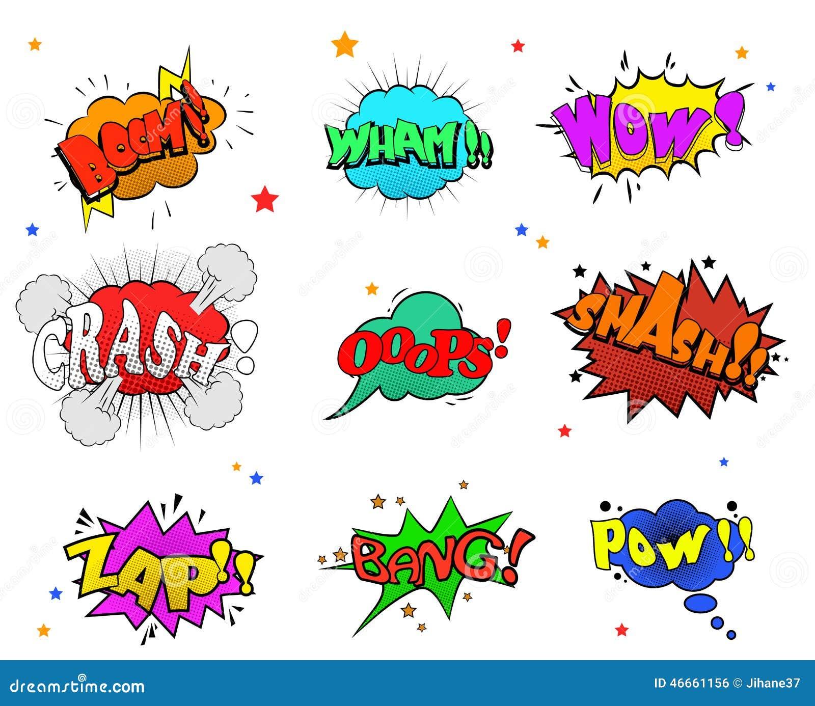 Samlingen av mångfärgade komiska solida effekter för dig planlägger