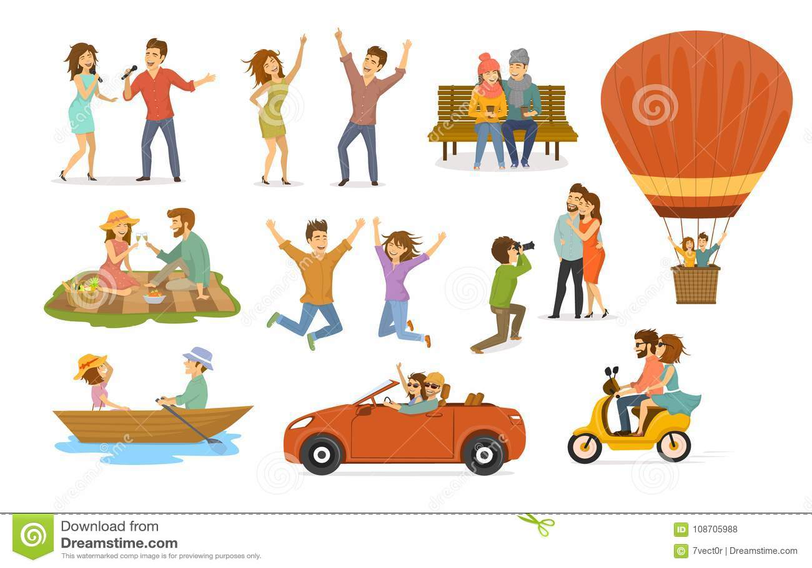 Samlingen av romantiska aktiviteter av förälskade par, diskoklubbadansen, allsångkaraokesånger som in sitter, parkerar på en bänk