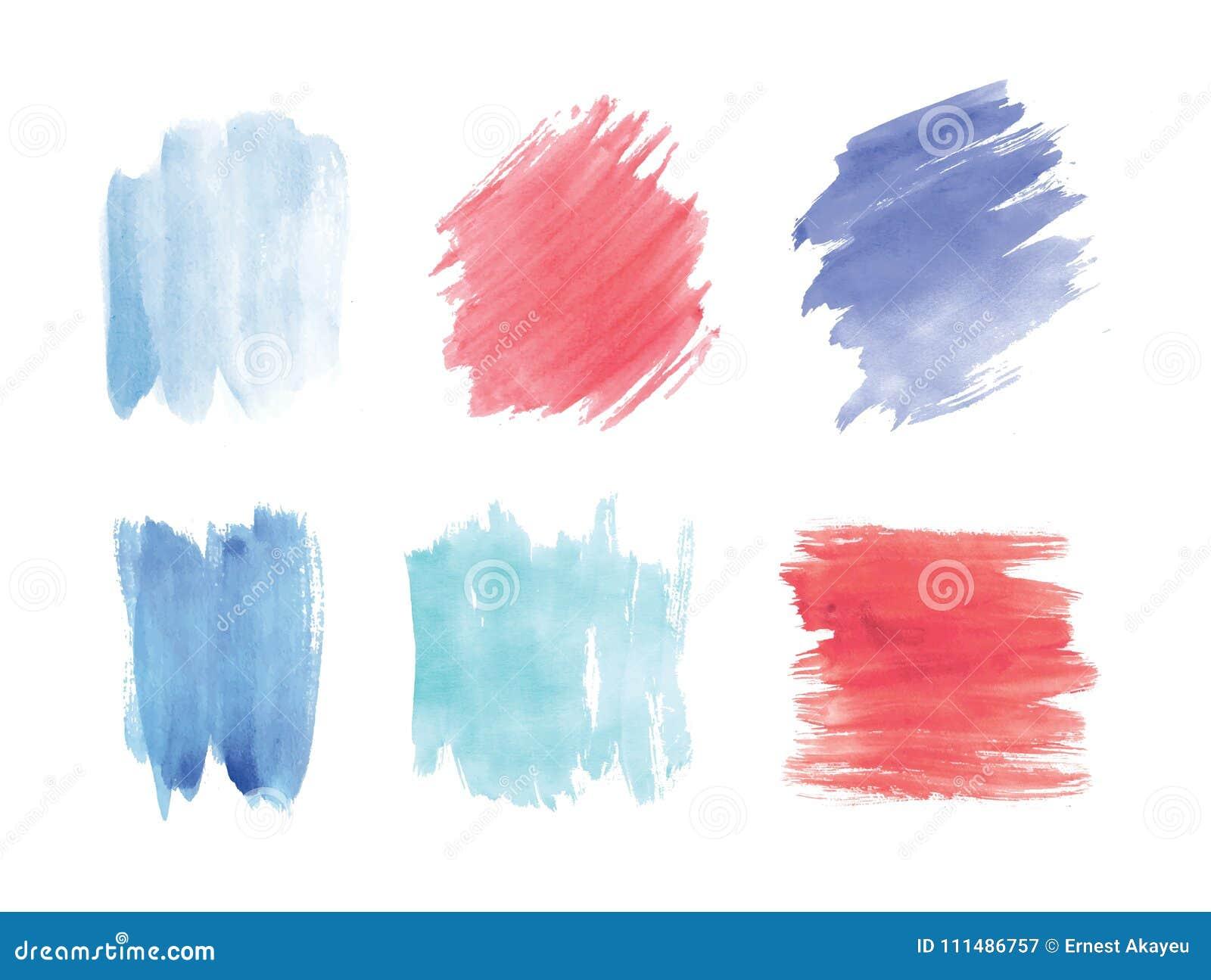 Samlingen av sudd eller fläckhanden målade med vattenfärgen som isolerades på vit bakgrund Packe av konstnärliga målarfärgspår