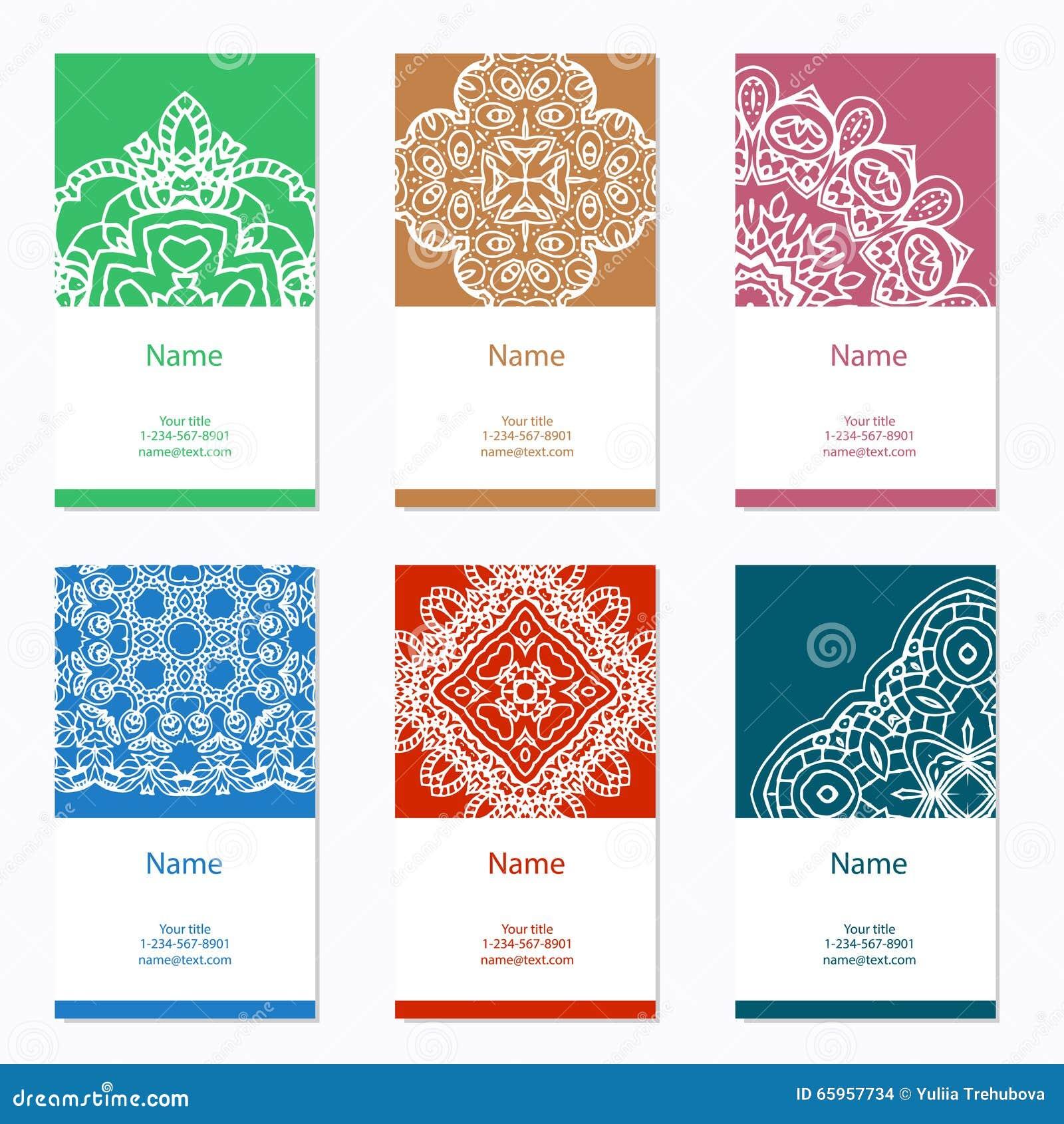 Samlingen för affärskort planlägger dynamiskt modernt Prydnaden för din design med snör åt mandalaen Det kan vara nödvändigt för