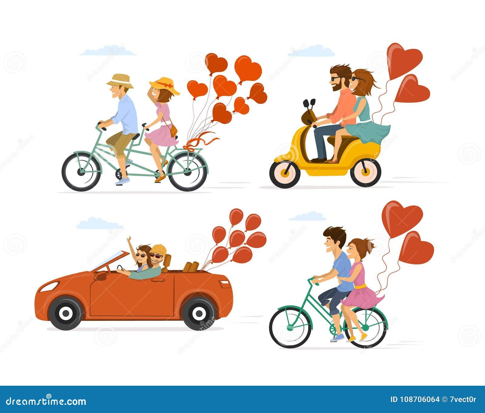 Samlingsuppsättning av par som är förälskade på ett datum på roadtripen och att ha ritt med cykeln, den tandema cykeln, sparkcyke