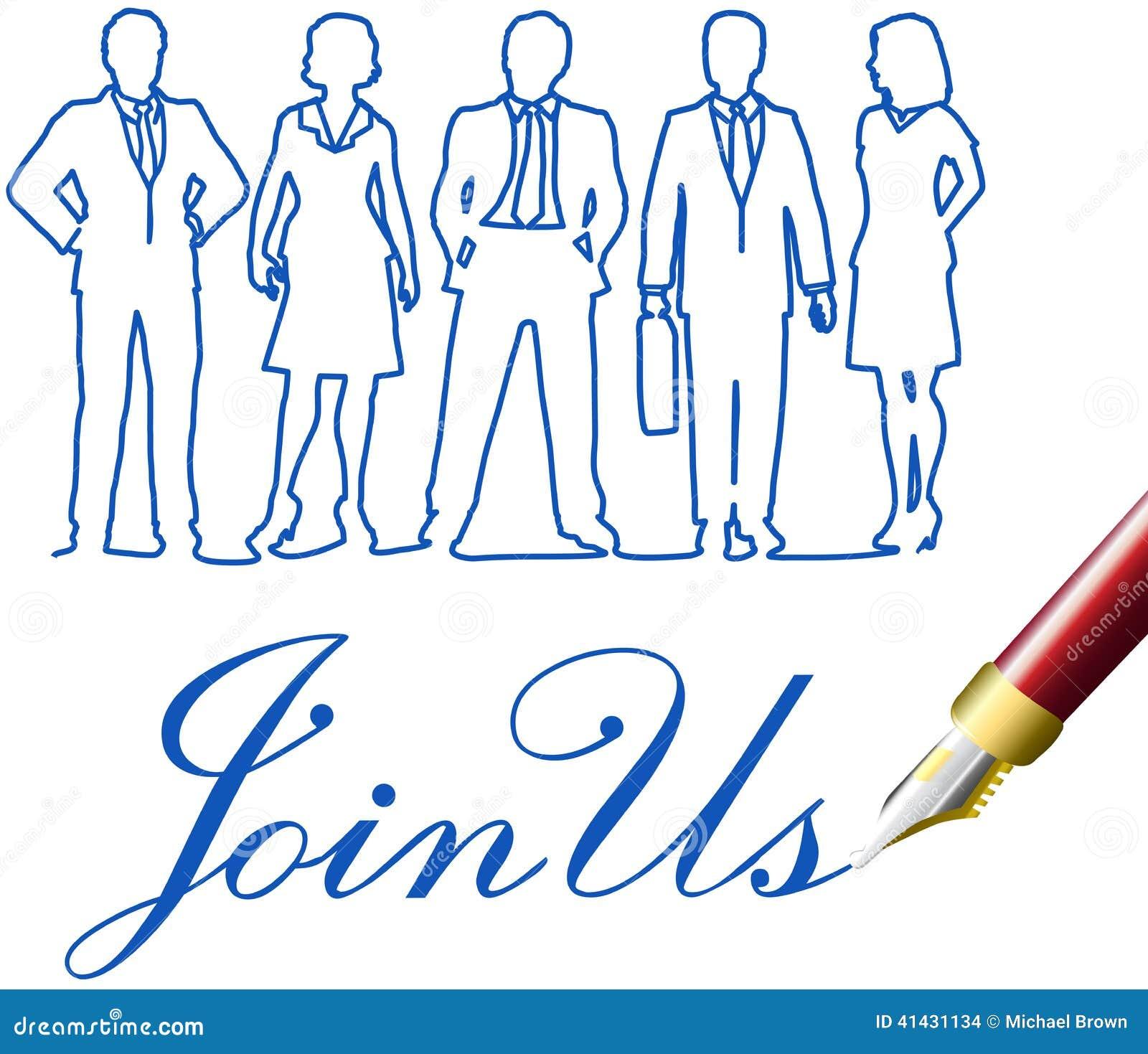Sammanfoga oss pennan för inbjudan för affärsfolk