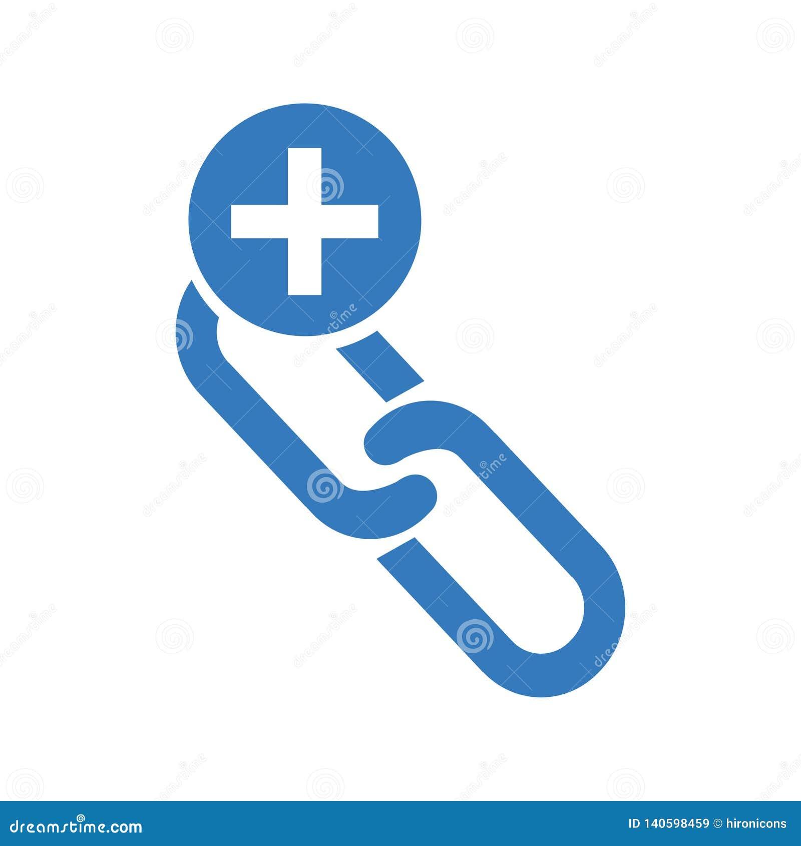 Sammanlänkningsbyggnadssymbolen/tillfogar rengöringsduksammanlänkning/tillfogar kedjan