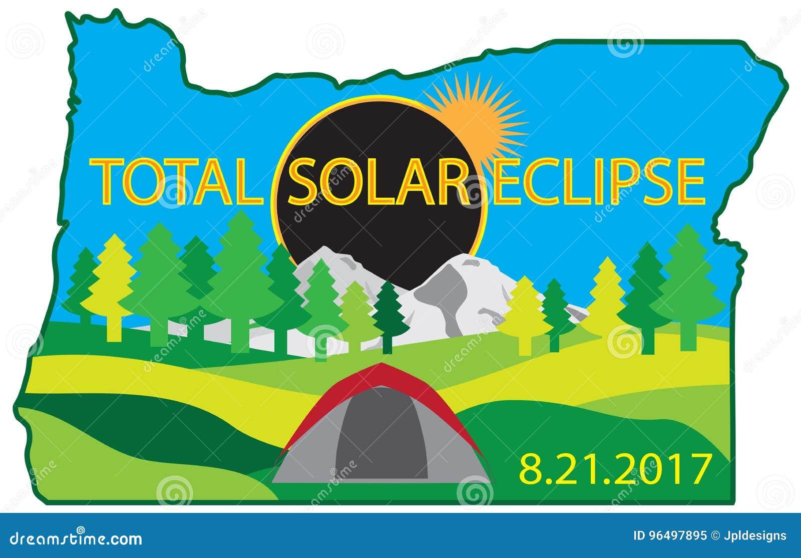 Sammanlagd för turöversikt för sol- förmörkelse 2017 campa illustration för vektor
