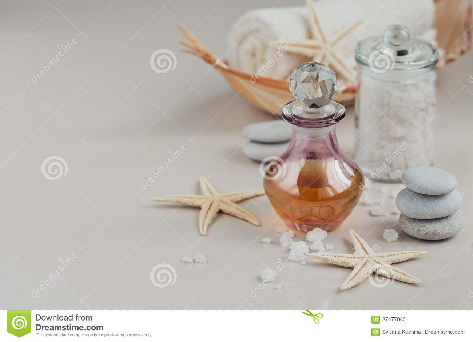 Sammansättning av brunnsortbehandling med doft eller den aromatiska olje- flaskan