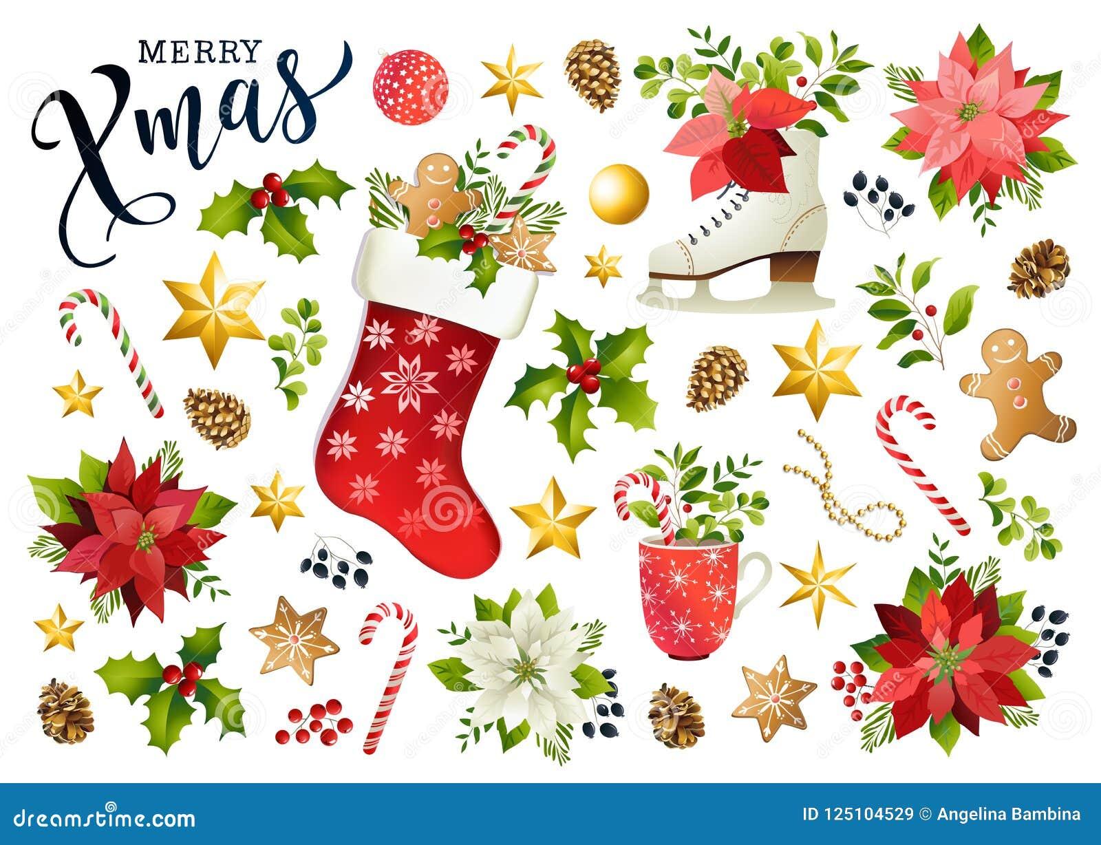 Sammansättning för fastställd design för jul av julstjärnan, granfilialer, kottar, järnek och annan växter Räkning inbjudan, bane