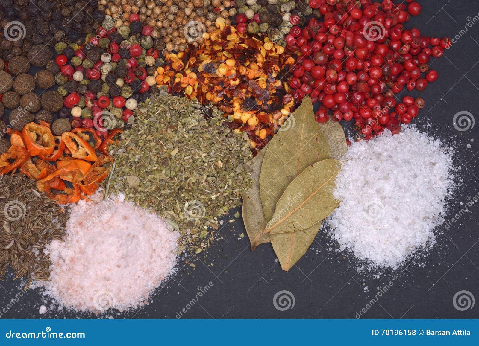 Sammansättning med olika kryddor och örter