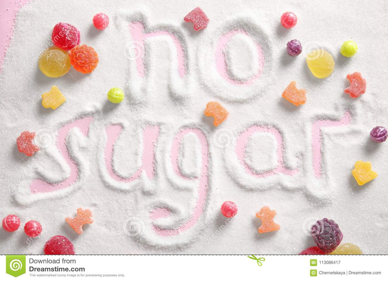 Sammansättning med sötsaker och formulerar INGET SOCKER