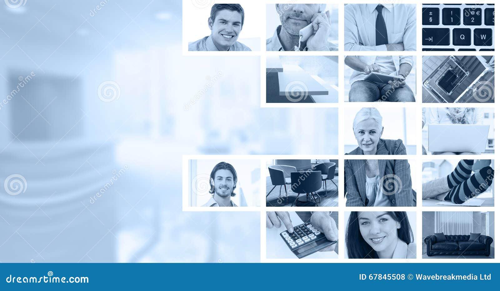 Sammansatt bild av affärsmän som använder bärbara datorn
