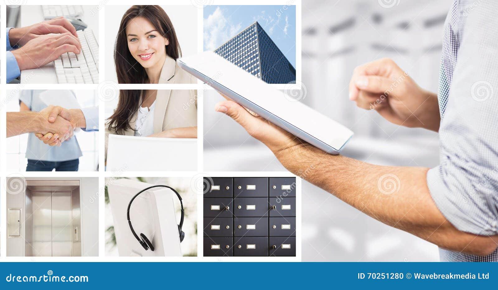 Sammansatt bild av affärsmannen som använder den digitala minnestavlan över vit bakgrund