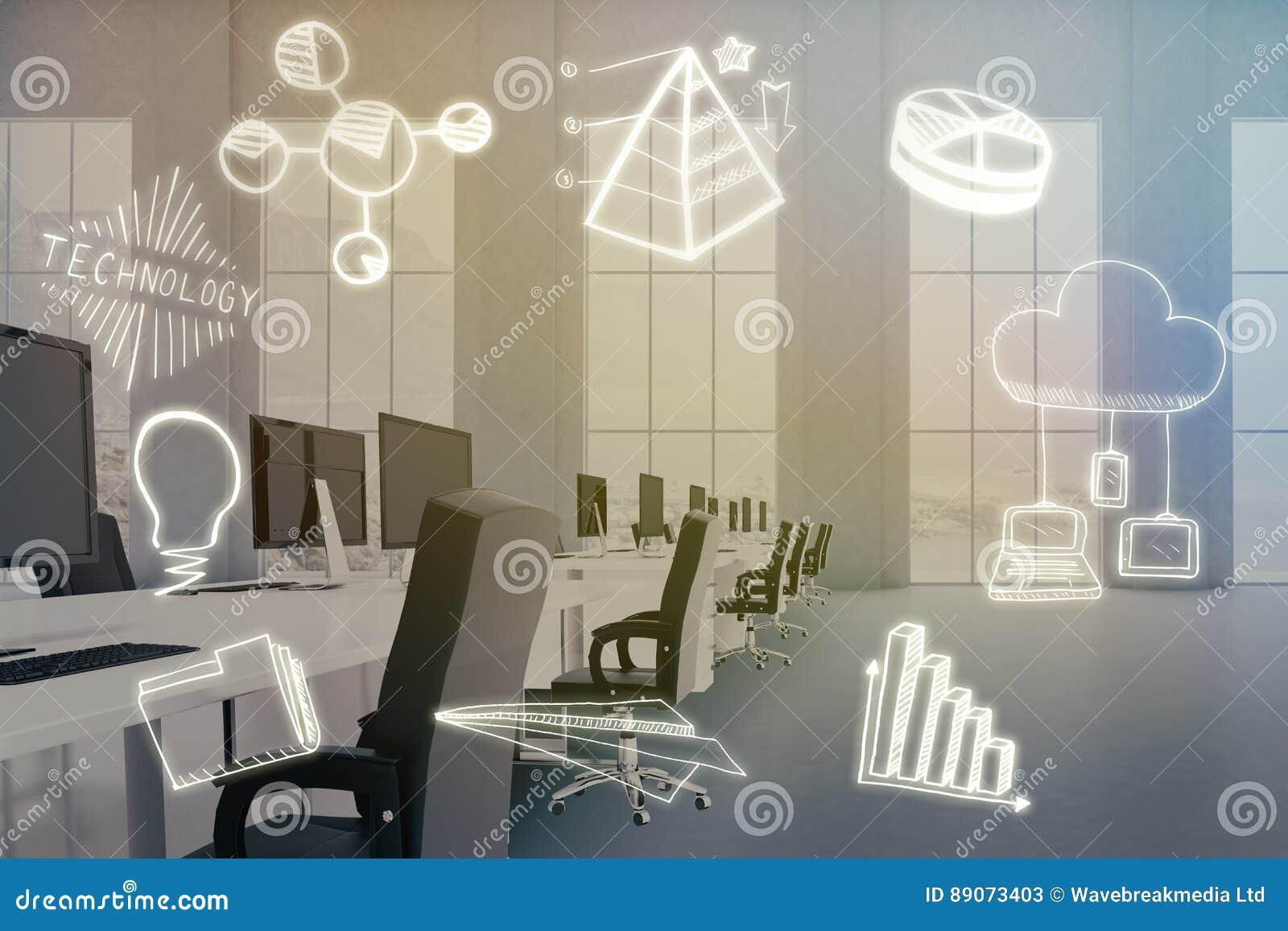 Sammansatt bild av den sammansatta bilden av datorsymboler på vit bakgrund 3d