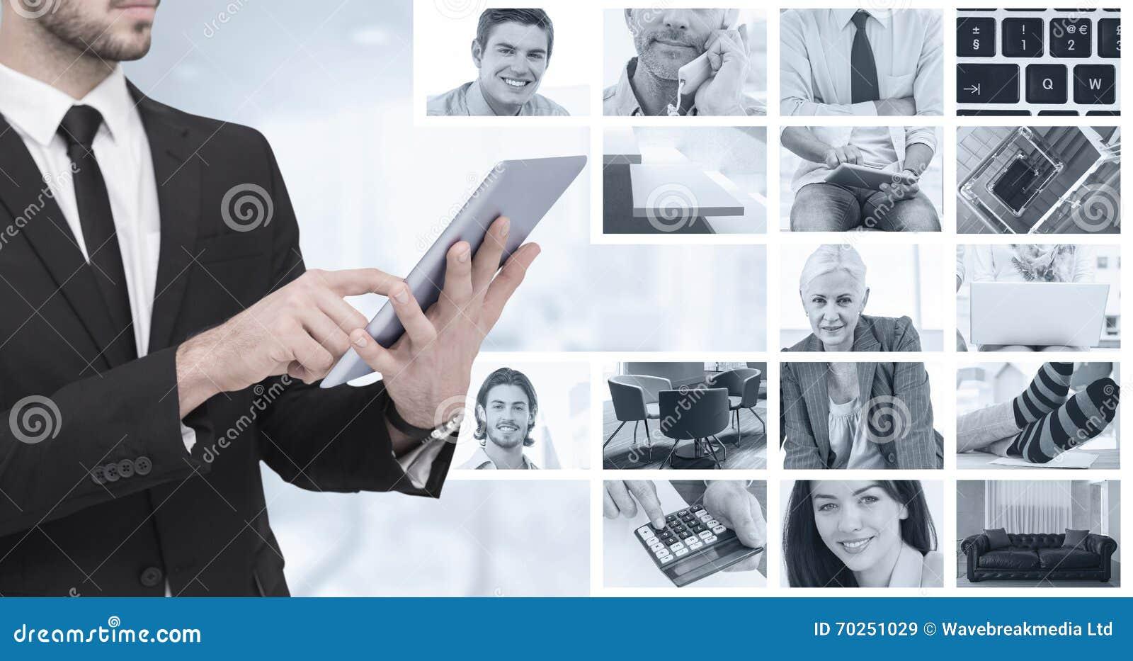 Sammansatt bild av det mitt- avsnittet av en affärsman som använder digital minnestavlaPC