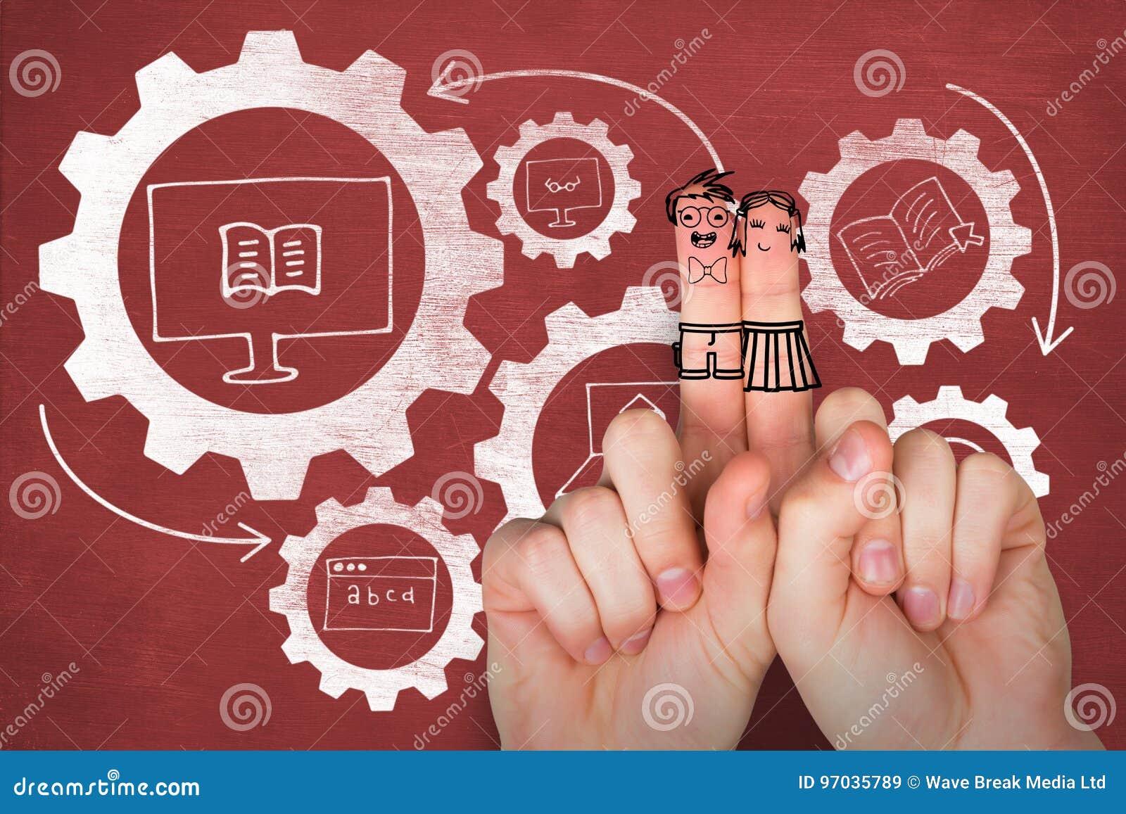 Sammansatt bild av digitala anthropomorphic smileyframsidor av vänner på fingrar