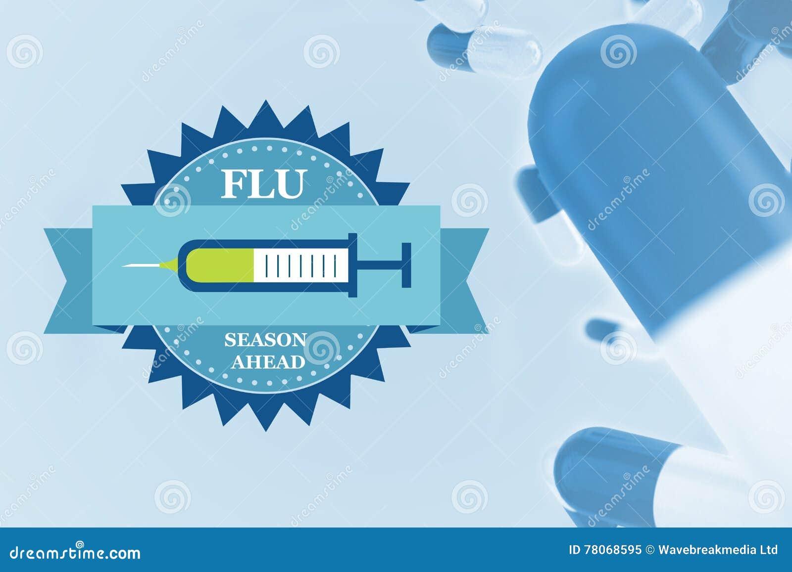 Sammansatt bild av kampen influensan med preventivpillerar