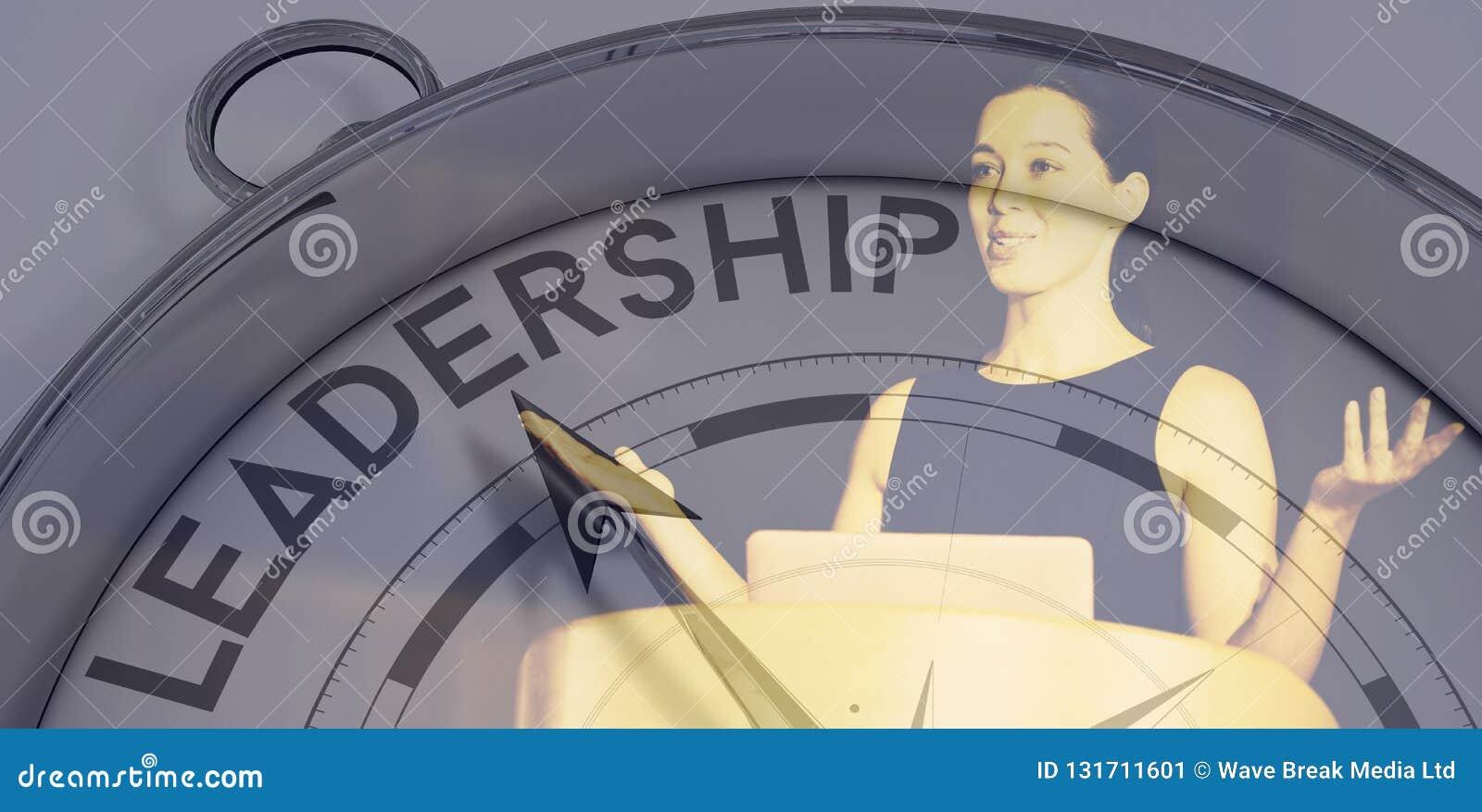Sammansatt bild av kompasset som pekar till ledarskap