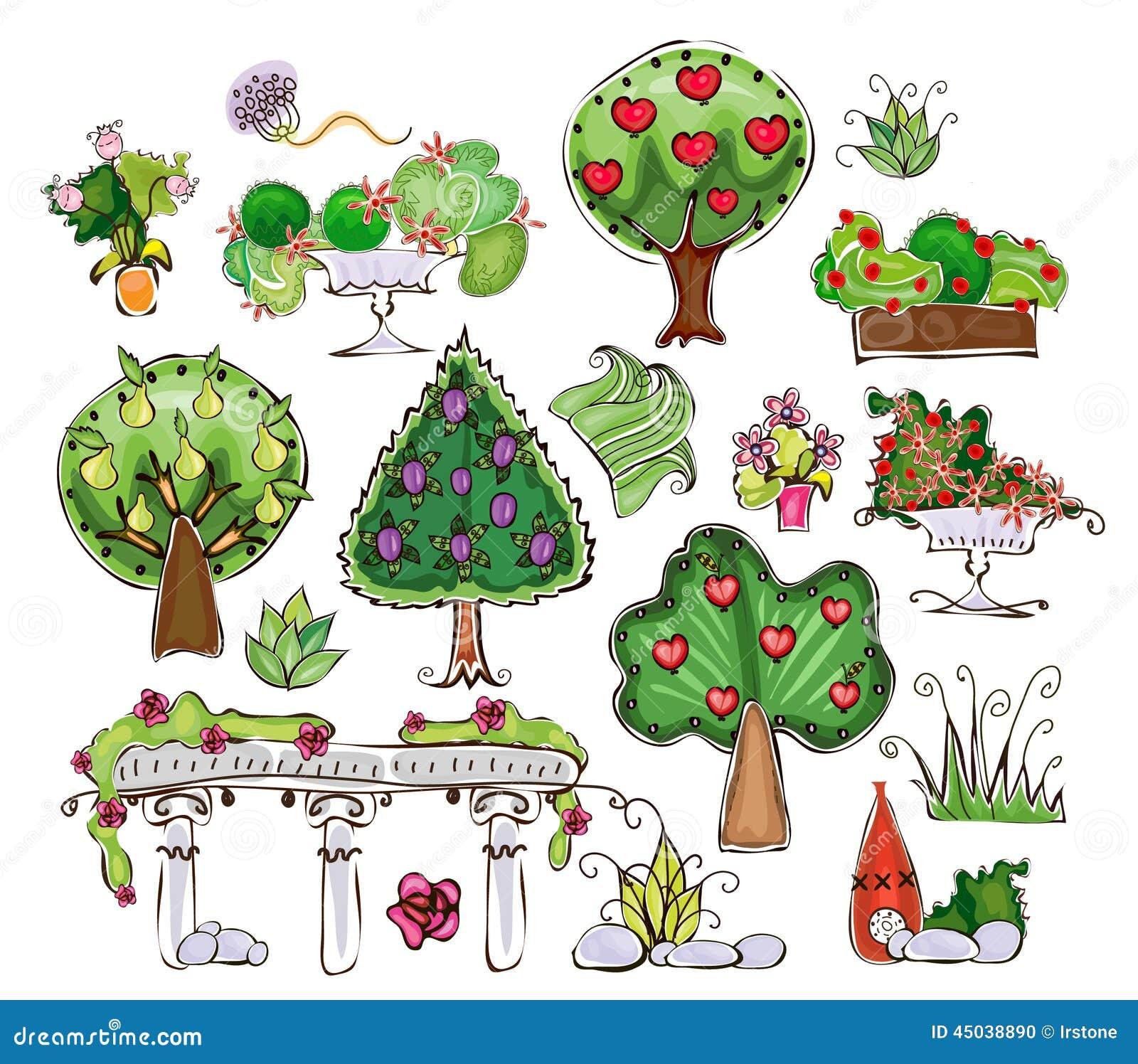 Sammlung Bäume Gras Und Gartensachen Stock Abbildung Illustration