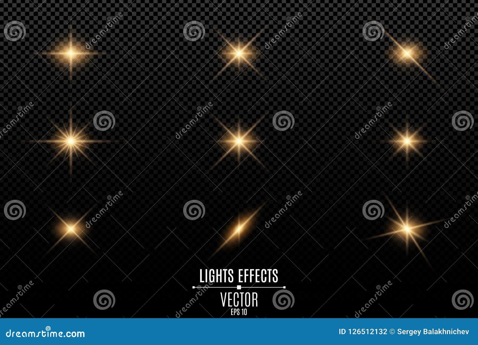 Sammlung Blitze, Lichter und Funken Optische Aufflackern Abstrakte goldene Lichter lokalisiert auf einem transparenten Hintergrun