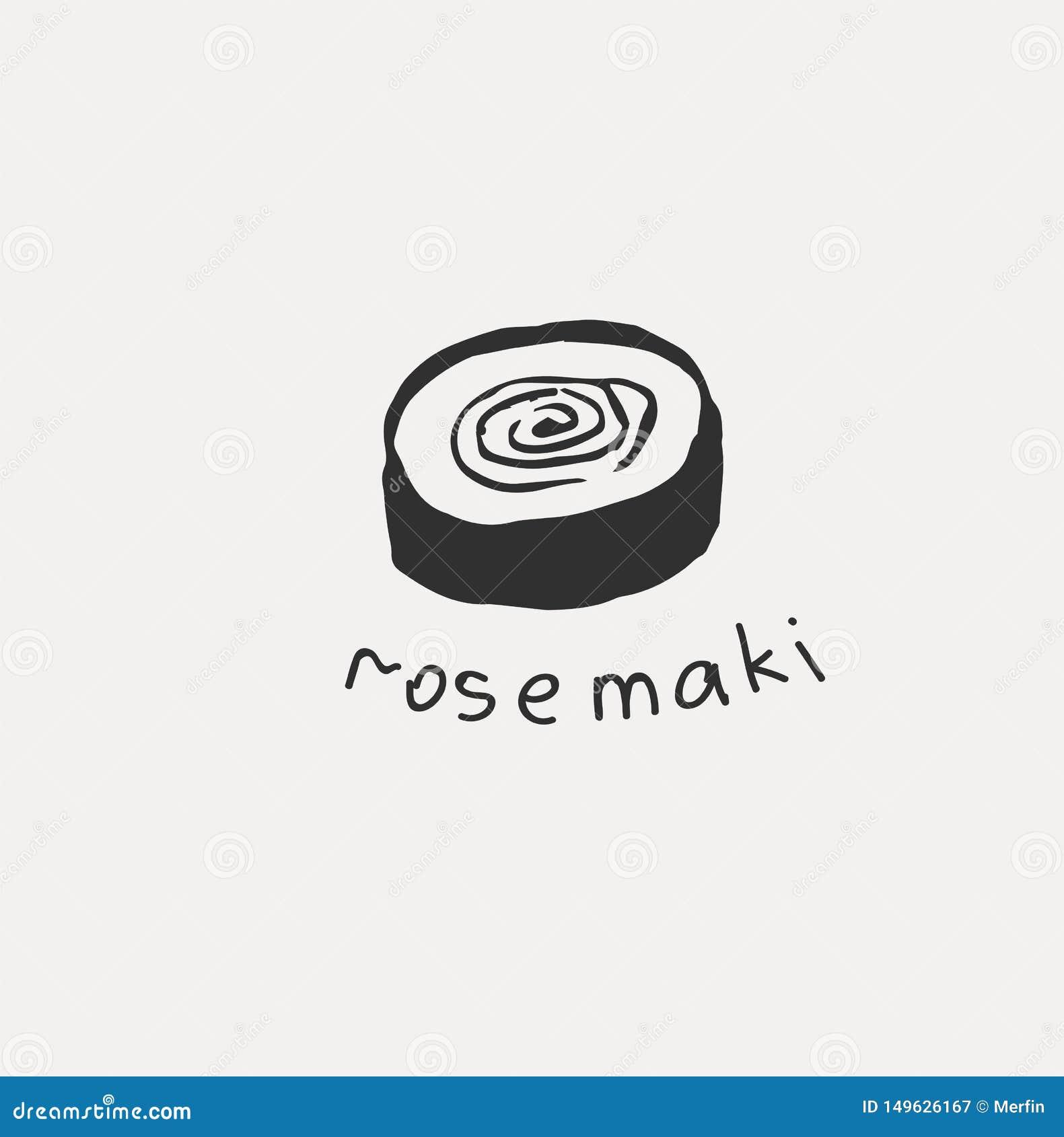 Sammlung der unterschiedlichen japanischen Nahrung Handgezogene Linie Kunstsatz der Nahrung