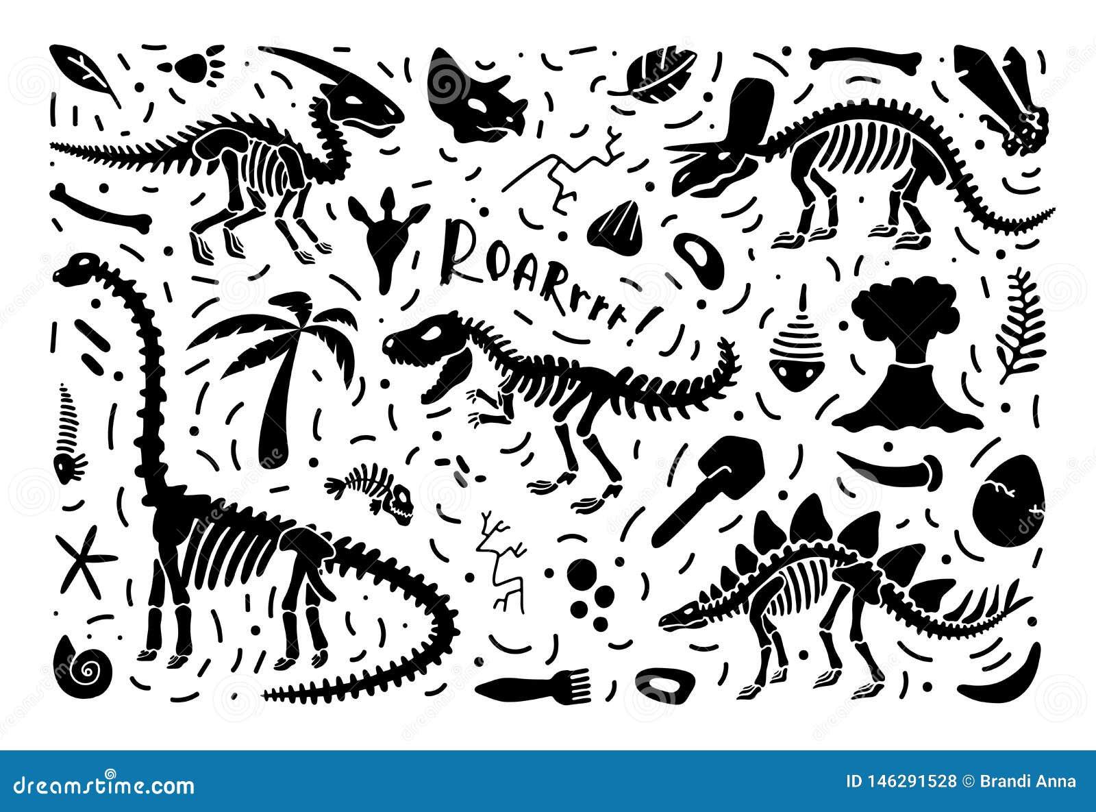 Sammlung Dinosaurierskelette und -fossilien, ein Satz Anlagen, Tiere und Paläontologieelemente Vektor